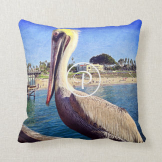 Cute beach pier pelican bird photo custom monogram throw pillow