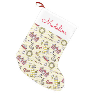 Cute Beach Scene Pattern | Add Your Name Small Christmas Stocking