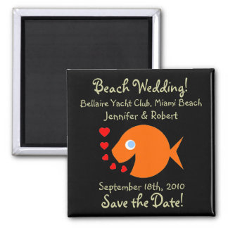 Cute Beach Themed Wedding Save The Date Square Magnet