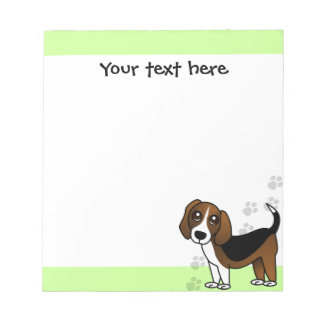 Cute Beagle Cartoon Dog on Green with Paw Prints Notepad