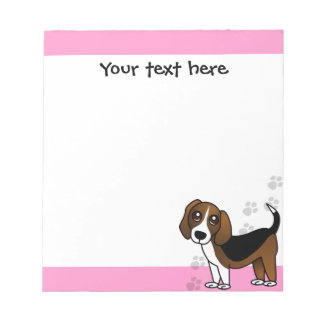 Cute Beagle Cartoon Dog on Pink with Paw Prints Notepad
