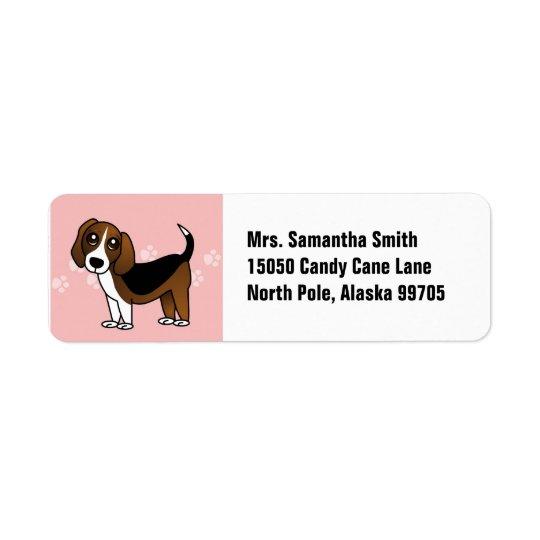 Cute Beagle Cartoon Dog Return Address Label