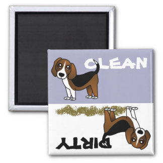 Cute Beagle Clean Dirty Dishwasher Magnet
