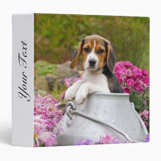 Cute Beagle Dog Puppy in Milk Churn with Flowers - Vinyl Binders