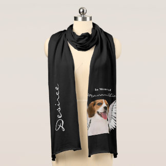 Cute Beagle Dog with Angel Wings Pet Memorial Scarf