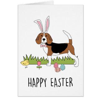 Cute Beagle Easter Bunny Card
