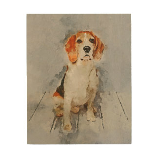 Cute Beagle Portrait Wood Wall Art