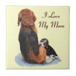 cute beagle puppy and mum dog art tile tiles