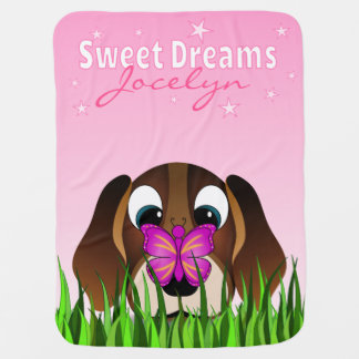 Cute Beagle Puppy Dog and Butterfly Cartoon Pink Baby Blanket
