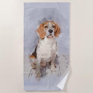 Cute Beagle Watercolor Portrait Beach Towel