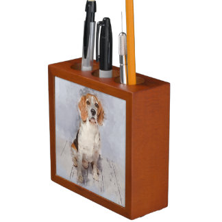 Cute Beagle Watercolor Portrait Desk Organizer