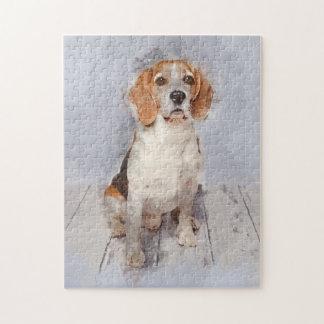 Cute Beagle Watercolor Portrait Jigsaw Puzzle