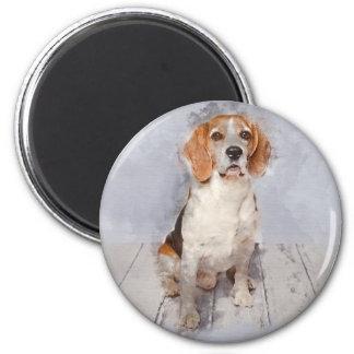Cute Beagle Watercolor Portrait Magnet