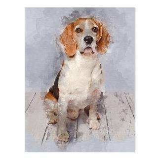 Cute Beagle Watercolor Portrait Postcard