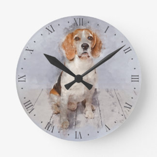 Cute Beagle Watercolor Portrait Round Clock