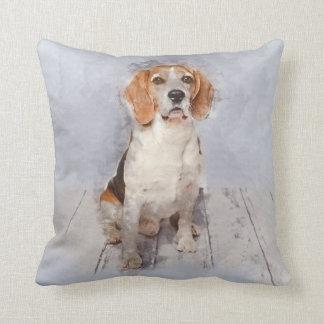 Cute Beagle Watercolor Portrait Throw Pillow