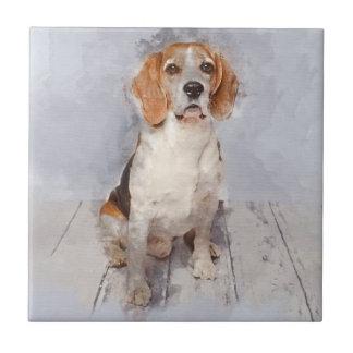 Cute Beagle Watercolor Portrait Tile