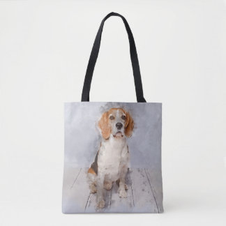 Cute Beagle Watercolor Portrait Tote Bag