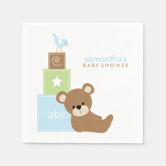 Cute Bear and Alphabet Toy Blocks Disposable Napkin