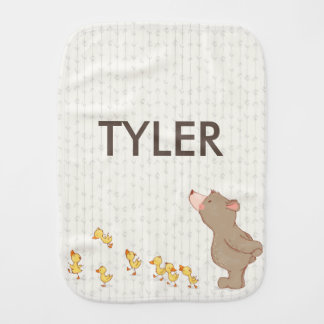 Cute Bear and Duck Baby Name Neutral Burp Cloth