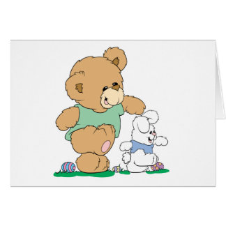 Cute Bear and Easter Bunny Card