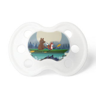 Cute Bear and Fox kayaking on a wild forest river Pacifier