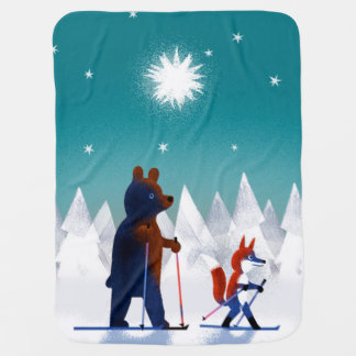 Cute Bear and Fox skiing under stars in a forest Baby Blanket