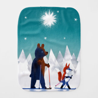 Cute Bear and Fox skiing under stars in a forest Burp Cloth