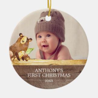 Cute Bear Baby's 1St Photo Christmas Ornament
