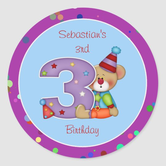 Cute Bear Birthday Party Sticker Age 3