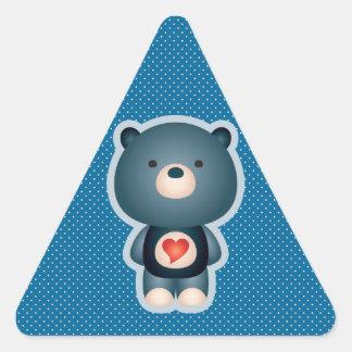 Cute Bear Blue Triangle Sticker
