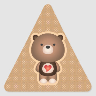 Cute Bear Brown Triangle Sticker