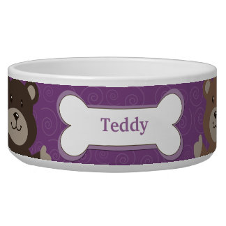 Cute Bear Customized Pet Dog Food Bowl - Purple