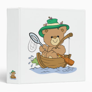 Cute Bear Fishing in Boat 3 Ring Binders