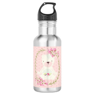 Cute Bear Floral Wreath and Hearts 532 Ml Water Bottle