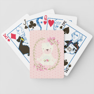 Cute Bear Floral Wreath and Hearts Bicycle Playing Cards
