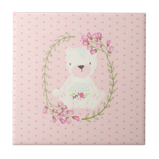 Cute Bear Floral Wreath and Hearts Ceramic Tiles