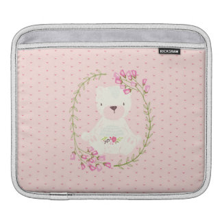 Cute Bear Floral Wreath and Hearts iPad Sleeve