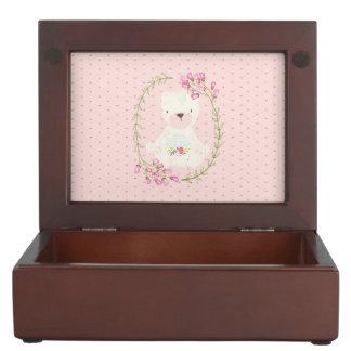 Cute Bear Floral Wreath and Hearts Keepsake Box