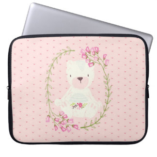 Cute Bear Floral Wreath and Hearts Laptop Sleeve