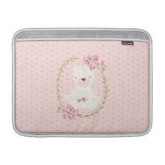 Cute Bear Floral Wreath and Hearts MacBook Sleeve