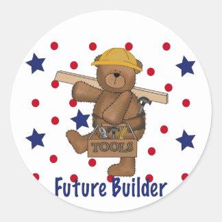 Cute Bear Future Builder Round Sticker