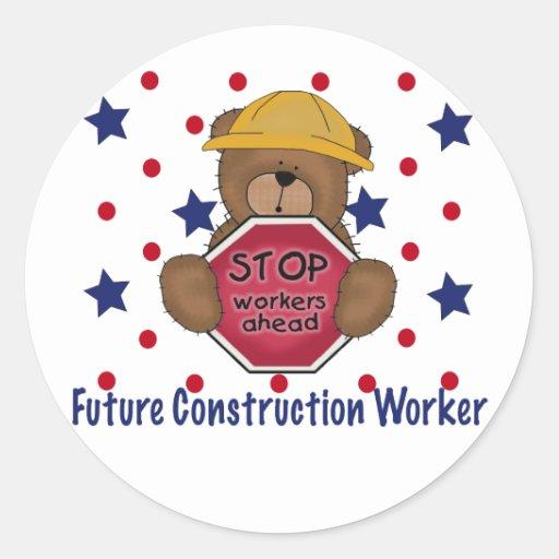 Cute Bear Future Construction Worker Round Sticker