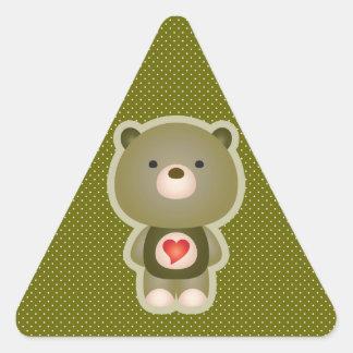 Cute Bear Green Triangle Sticker