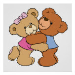 Cute Bear Hug Bears Poster