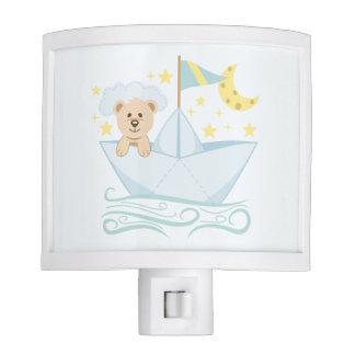 Cute Bear in Paper Boat Nite Lite