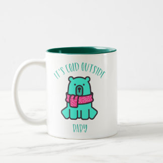 Cute bear its cold outside baby typography Two-Tone coffee mug