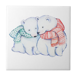 CUTE BEAR LOVE.  CHRISTMAS POLARBEAR GIFT TILE