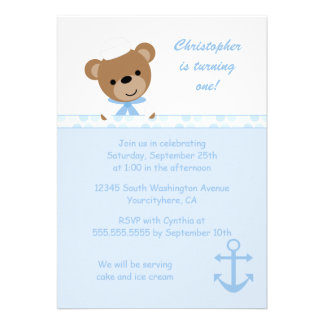 Cute bear sailor boy s birthday party invitation