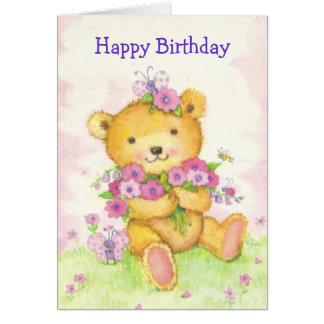 Cute bear w/butterfy birthday card